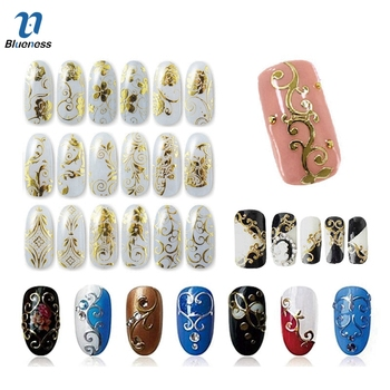 Gold Silver 3D Nail Art Stickers Nail Decoration Design Brand Foils Beauty Stickers For Nails Accessories Decals Tools JH125