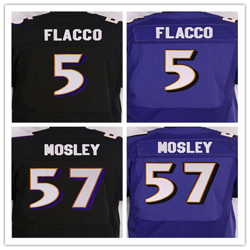Best quality jersey,Men's 5 Joe Flacco cheap 57 C J Mosley Stitched elite jersey,Black,Purple,Size M-XXXL,Free shipping(China (Mainland))