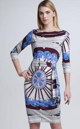 Luxury Brand Design Classical Sexy Slash-neck Vintage Blue Print Silk Jersey Dress With Sashes(China (Mainland))