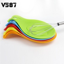 Silicone Spoon Rest Practical Heat Resistant Home Kitchen Utensil Spatula Holder Racks New Colorful(China (Mainland))