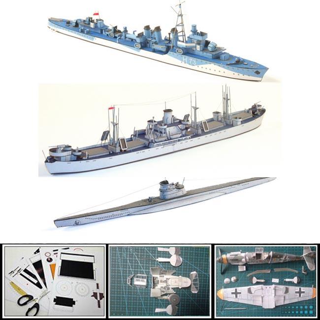 Paper Model battleship 1:400 scale Polish ship OPOLE ,Destroyer BURZA and German submarine U 606 Diy 3d puzzles handmade models(China (Mainland))