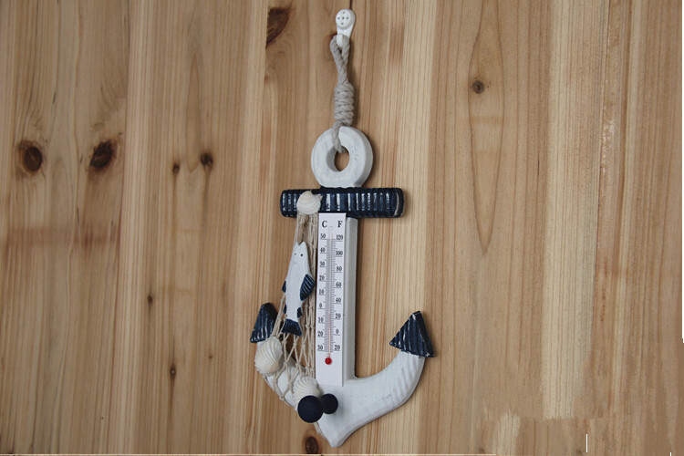 Free Shipping Creative Mediterranean Style Wooden Boat Anchor Thermometer Strap Hook,Fashion Wood Home Decor for Home Decoration(China (Mainland))