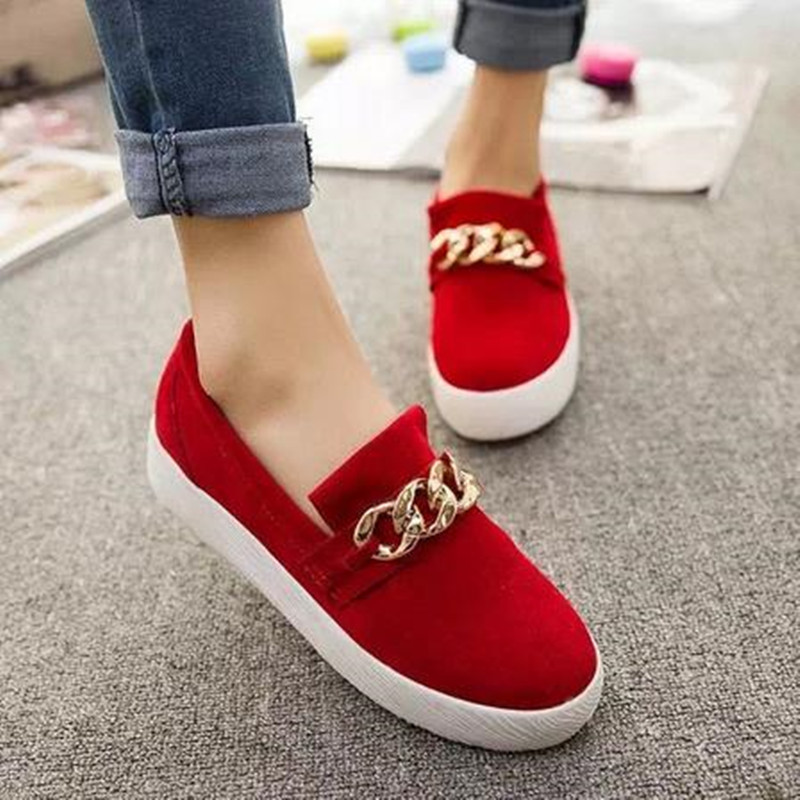Гаджет  On Sale Summer Style Women Casual Shoes Female Metal Chain Decoration Slip-on Loafers Ladies Round Toe Flats Size 37-39 None Обувь