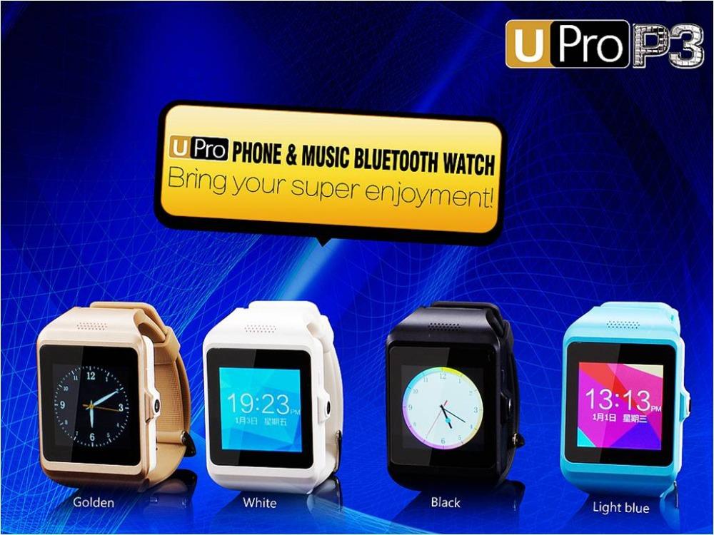 2015 Bluetooth Smart Watch Upro P3 wrist watch Phone with camera Support SIM talk/Pedometer/Anti-lost/Stop Watch/Alarm/FM Radio(China (Mainland))