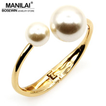 MANILAI Fashion Charm Bracelets For Women Accessories Imitation Pearl Cuff Bangles Statement Jewelry Wholesale Gift pulseiras(China (Mainland))
