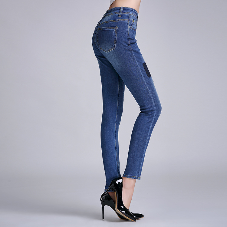 Autumn 2015 authentic stretch cotton jeans in the Korean version of the pencil pants feet pants waist ladies pants(China (Mainland))