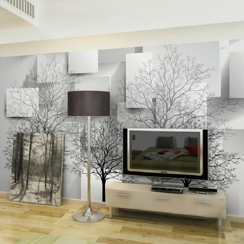 Moderno design 3d room wallpaper landscape black trees image prints papel de parede living room wall murals tv sofa background(China (Mainland))