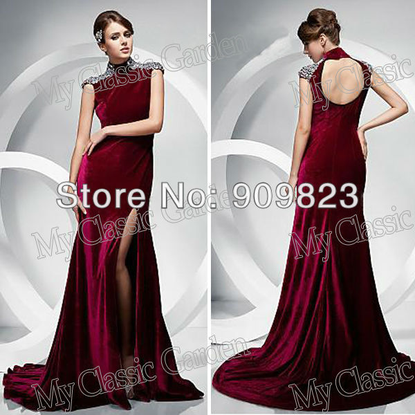 New High Collar Beaded Slit Velvet Full Length Open Back 5da976e65bb1