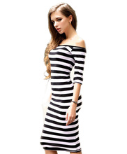 2016 Women Summer Dress Sexy Off The Shoulder Knee Length Striped Half Sleeve Bodycon Pencil Women Dress vestidos Plus Size(China (Mainland))