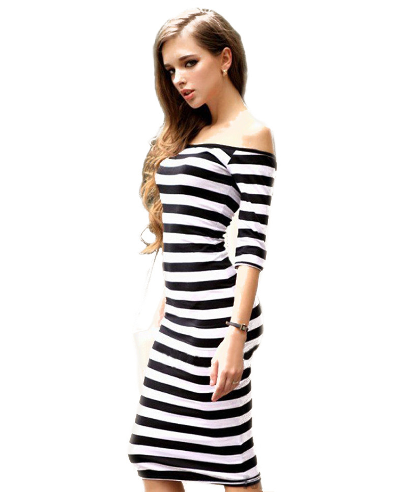 2016 Women Summer Style Dress Sexy Off The Shoulder Knee Length Random Striped Half Sleeve Bodycon