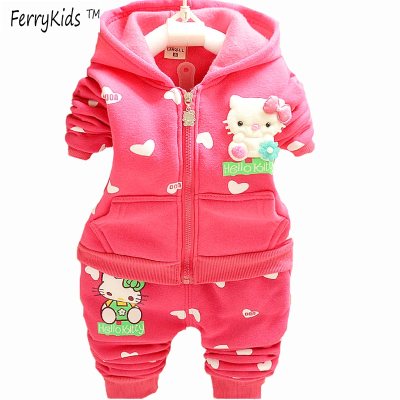2016 New Velvet Baby Girls Clothes Sets 2pcs 3pcs Hooded Jackets Kids Clothes Toddler Girl Clothing Sets Hello Kitty Winter(China (Mainland))
