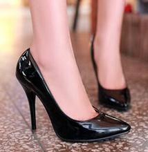 New 2015 Sexyy Pointed Toe Elegant Office Heels Stilettos Women Pumps Fashion Patent Leather Black Bottom High Heels Ladies Shoe