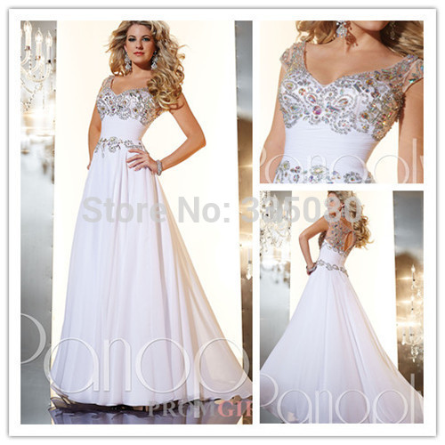 Online Get Cheap Modest White Chiffon Cap Sleeves Prom Long Dress ...