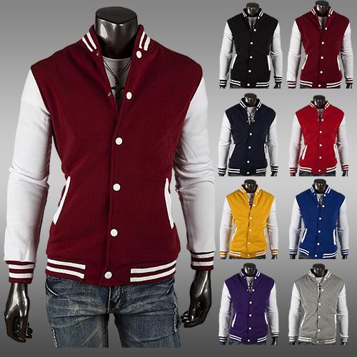 2014 Men's Classic Baseball Varsity Jacket Outdoor Casual Coat Winter Sport Hoodie jacket 8 colors