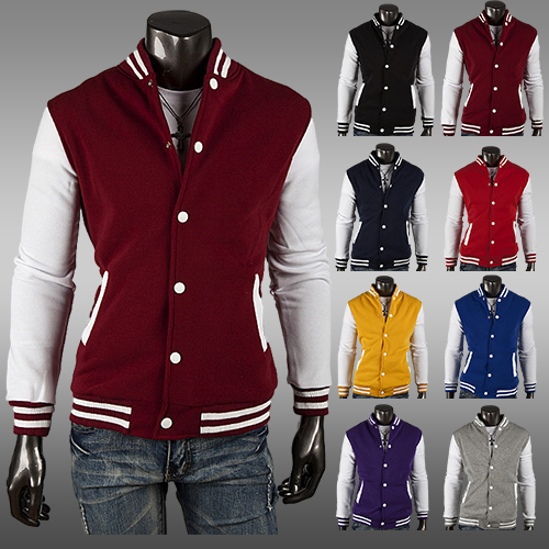 Men's Classic Baseball Varsity Jacket Outdoor Casual Coat Winter Sport Hoodie jacket 8 colors Free Shipping(China (Mainland))