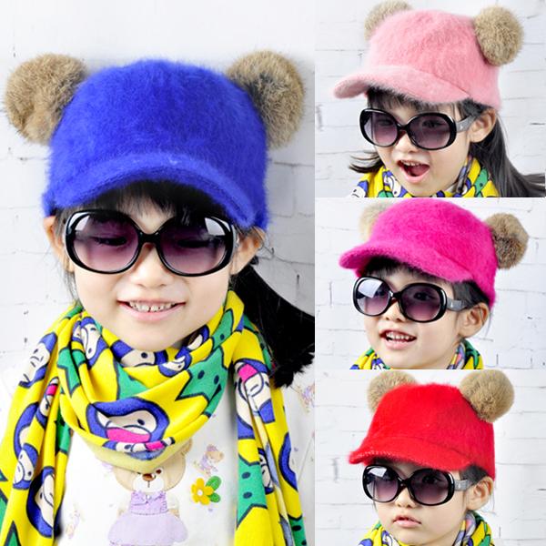 Children's Baby Hat 2014 autumn and winter Korean Tide Girls baseball cap peaked cap Baby Bonnet 3-8 years]DD(China (Mainland))