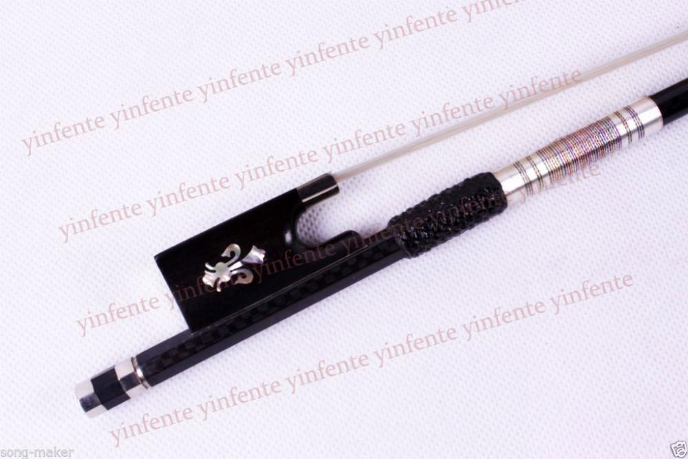 One Violin Bow Plaid Carbon Fiber Round Stick Ebony  Flower inlaid 4/4 #6<br><br>Aliexpress