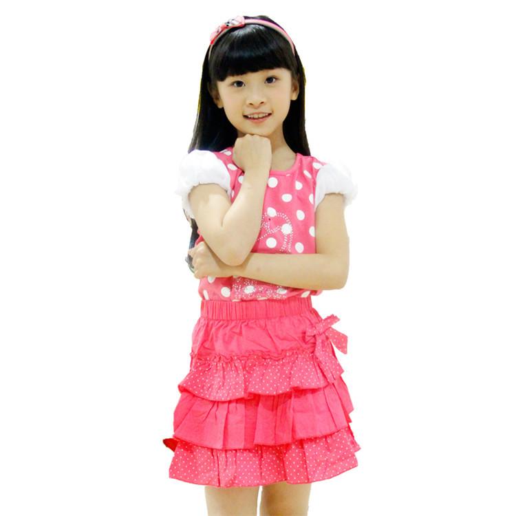 2015 summer new styles kids clothes sets baby girls fashion polka dot short sleeve t-shirt and short skirt sets BQ0004(China (Mainland))