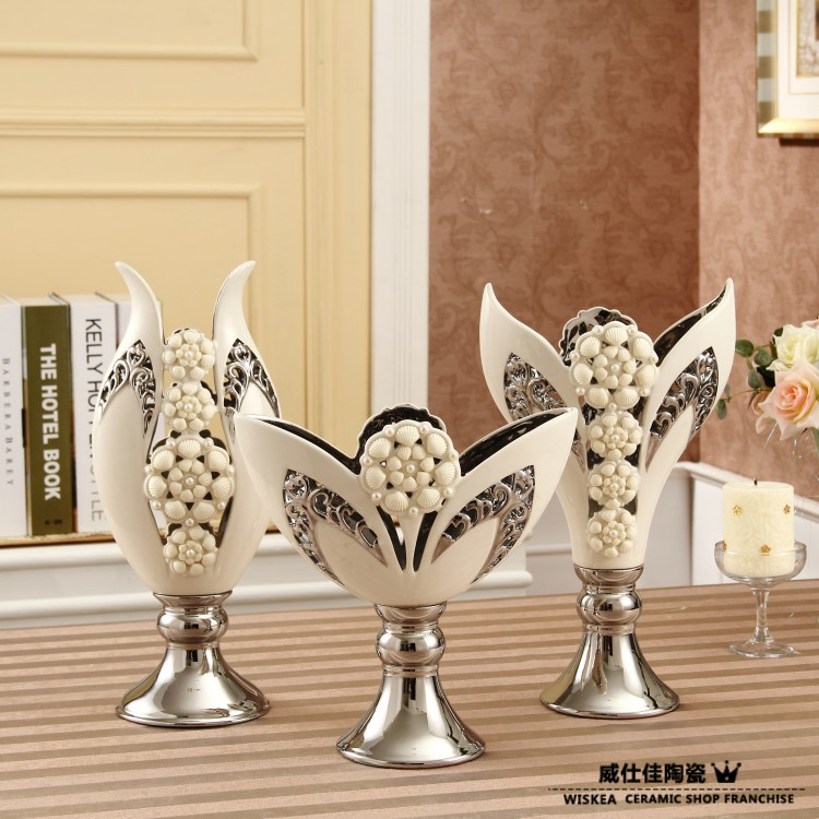 Porcelain modern white vessels home decoration ceramic for House decoration pieces