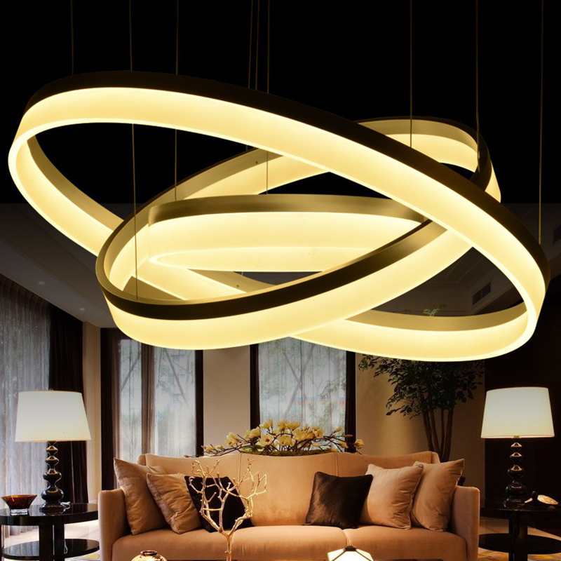 modern pendant light 3 rings Circle Suspension hanging lamp for restaurants dining room lights LED Lustre de sala lighting(China (Mainland))