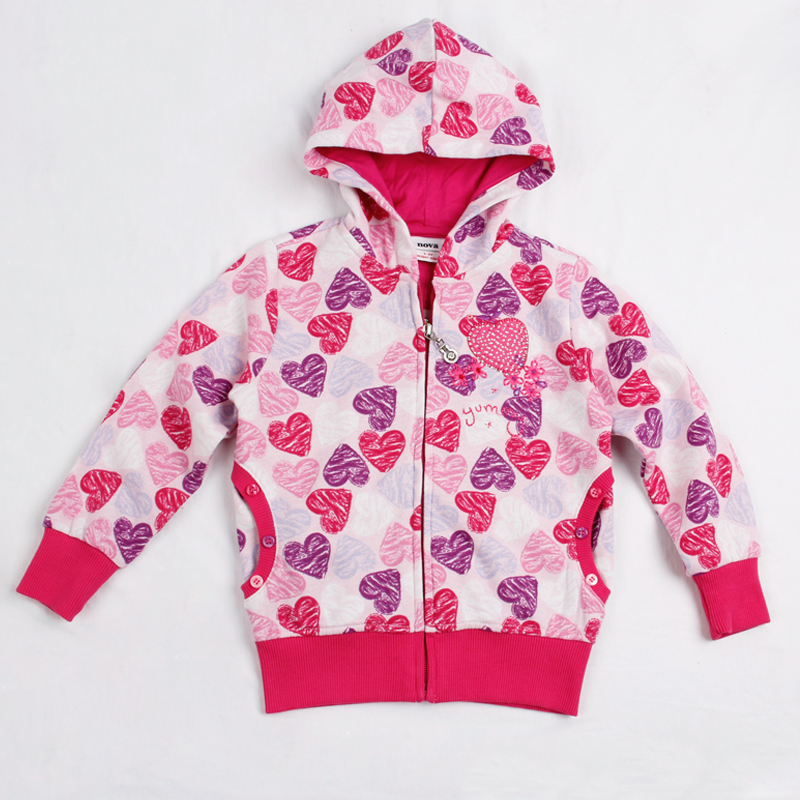 FREE SHIPPING F3331# 18m/6y NOVA kids girls winter clothes printed sweet hearts and applique hot girls hoodies brand and jackets<br><br>Aliexpress