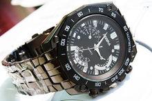 2015 fashion black tungsten steel men s watch High quality thin section large dial quartz