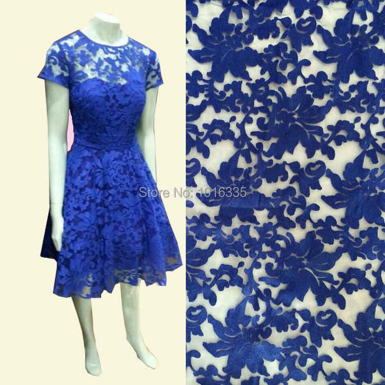 Здесь можно купить  2015 royal blue cotton embroidery accessories Beyonce dress, fashion organza lace fabric  for wedding dress  Дом и Сад