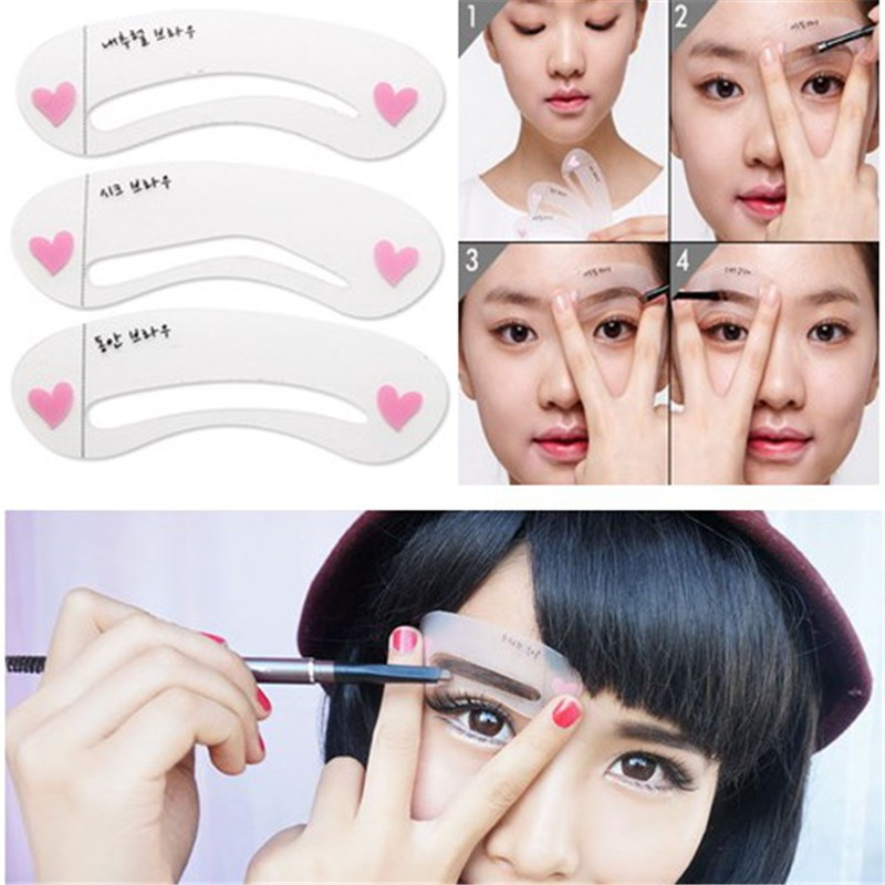 Hot 3Pcs/lot Clear Durable Grooming Eyeliner Eyebrow Drawing Template Assistant Card Brow Makeup Stencil Comestic Tools MM004