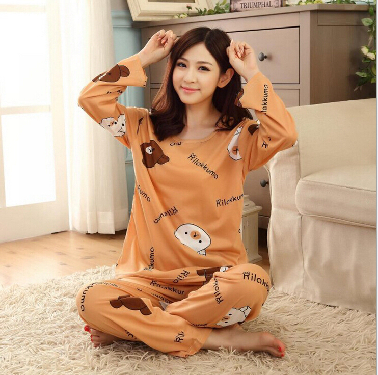 Free shipping Pajama Sets O-Neck Long Sleeve women Sleepwear autumn winter 100% Cotton Pajamas Women 2 colros M-XL Wholesale(China (Mainland))