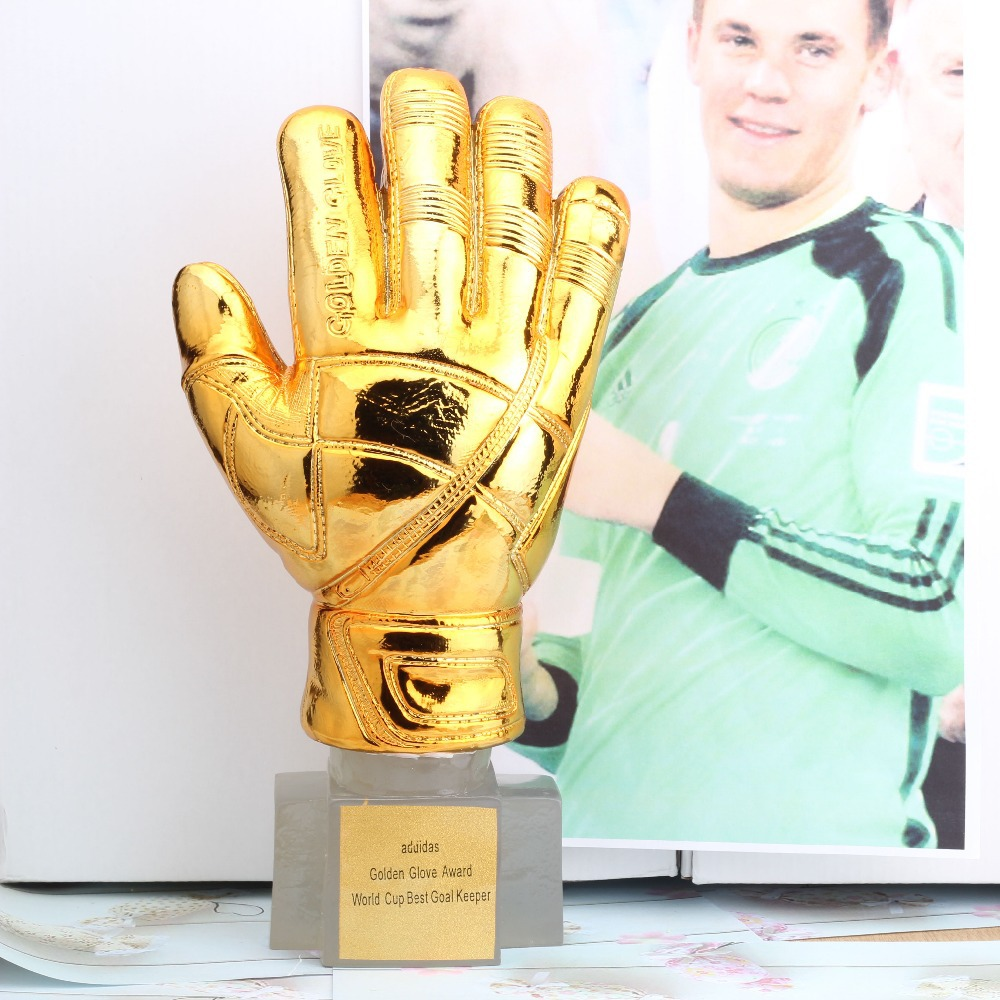New 1:1 Gold gloves 31cm trophies Brazil World Cup Messi Best goal keeper award Football Fans Souvenirs Soccer Gift Trophy(China (Mainland))