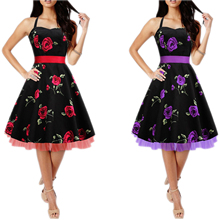 Halter Neck Floral Print Party Swing Dress