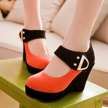 Shoes Women Pumps Autumn Mary Jane Casual Platform Shoes Wedges Heels Flock Sequined Beige Red Plus Size 41 42 43 1-A0A(China (Mainland))