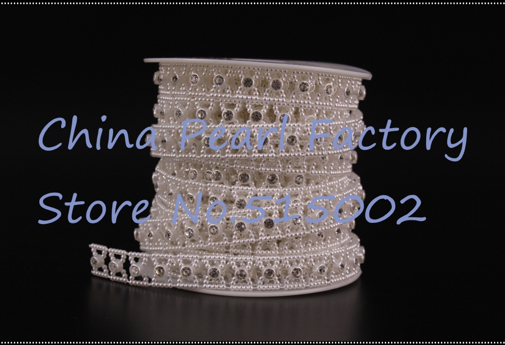 13mm crystal and Pearl chain, plastic cup chain, Pearl Rhinestone Beads Trim Strass Crystal Chain For Wedding Clothes Decorative(China (Mainland))