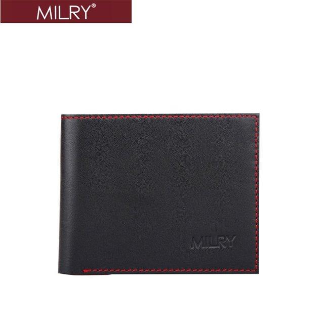 Free Shipping + Custom logo Brand MILRY 100% Guaranteed Genuine Leather men wallet purse money clip Black  C0175