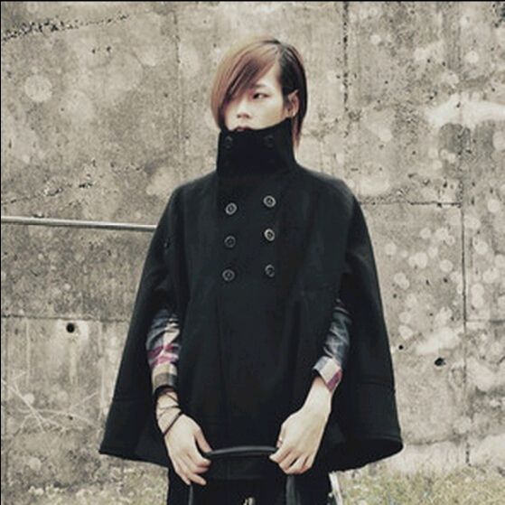 2015 Fashion Korean Harajuku Gothic Mens Pea Coat Overcoat Winter Double Breasted Mens Wool Cloak Trench Coat manteau homme(China (Mainland))