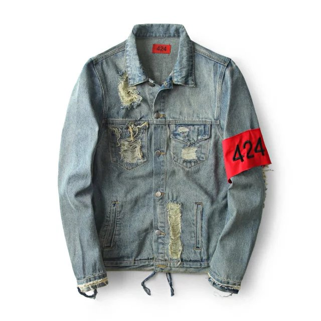 New Fashion Hiphop Men's Clothes Brand Clothing Fear Of God Four Two Four Broken Hole Jeans Designer Ripped Denim Jacket Coat(China (Mainland))