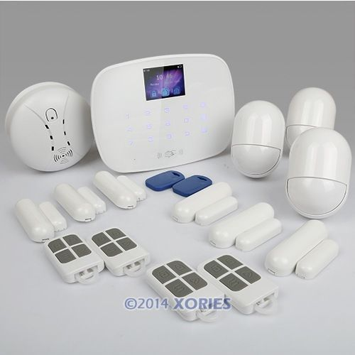Android/iOS APP GSM/SMS/RFID Autodial Home Security Alarm System Support EN & RU voice +Smoke Sensor(China (Mainland))