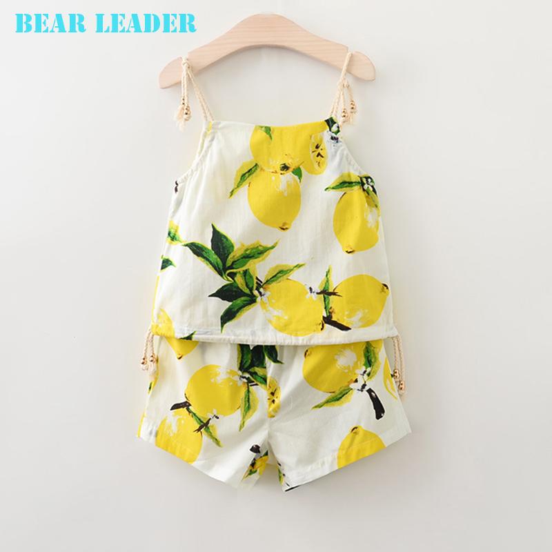 Bear Leader Girls Boys Clothing Sets 2016 Brand Kids Clothing Sets Lemon Fruit Design Sleeveless T-shirt+ Shorts 2Pcs Clothes(China (Mainland))
