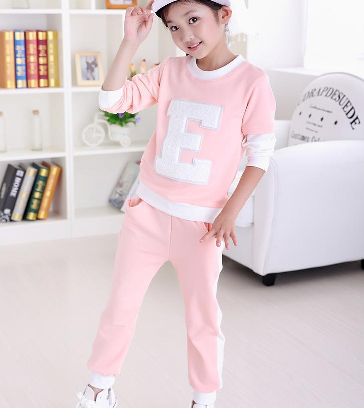 AUTUMN kids sets for girls new fashion children suits 2pcs pullover+pants sports girls suits pink qk064 factory direct(China (Mainland))