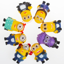 8PCS/lot Fashion Cartoon Despicable Me 2 Minions PVC Toy 3D Eye Mini Moive Star Figure Toys Lovely Minion Kids Doll 5cm(China (Mainland))