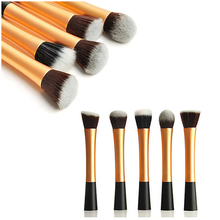 5Pcs/Set Gold Professional Powder Blush Brush Facial Beauty Cosmetic Stipple Makeup Tools Make Up Brush Foundation Brush