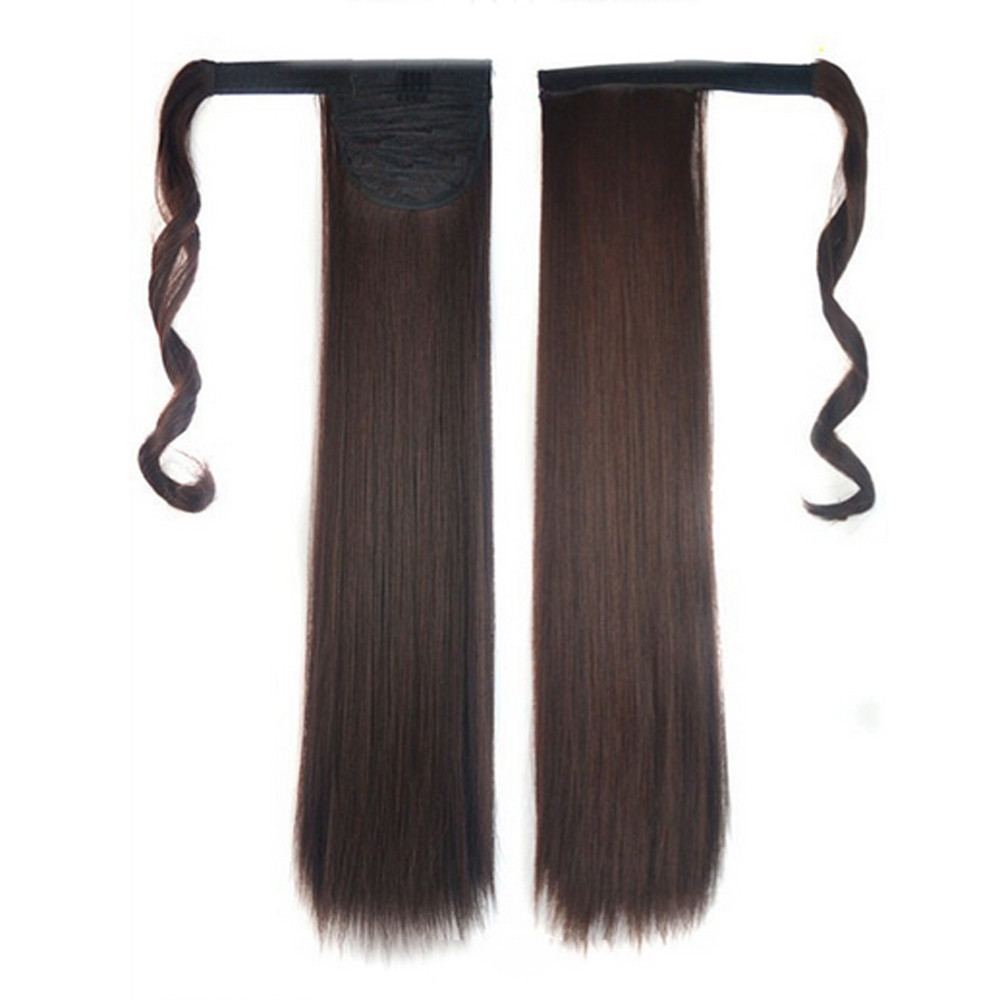 kai yunly 1PC New Fashion Real Clip In Human Hair Extension Straight Pony Tail Wrap Around Ponytail C Oct 26