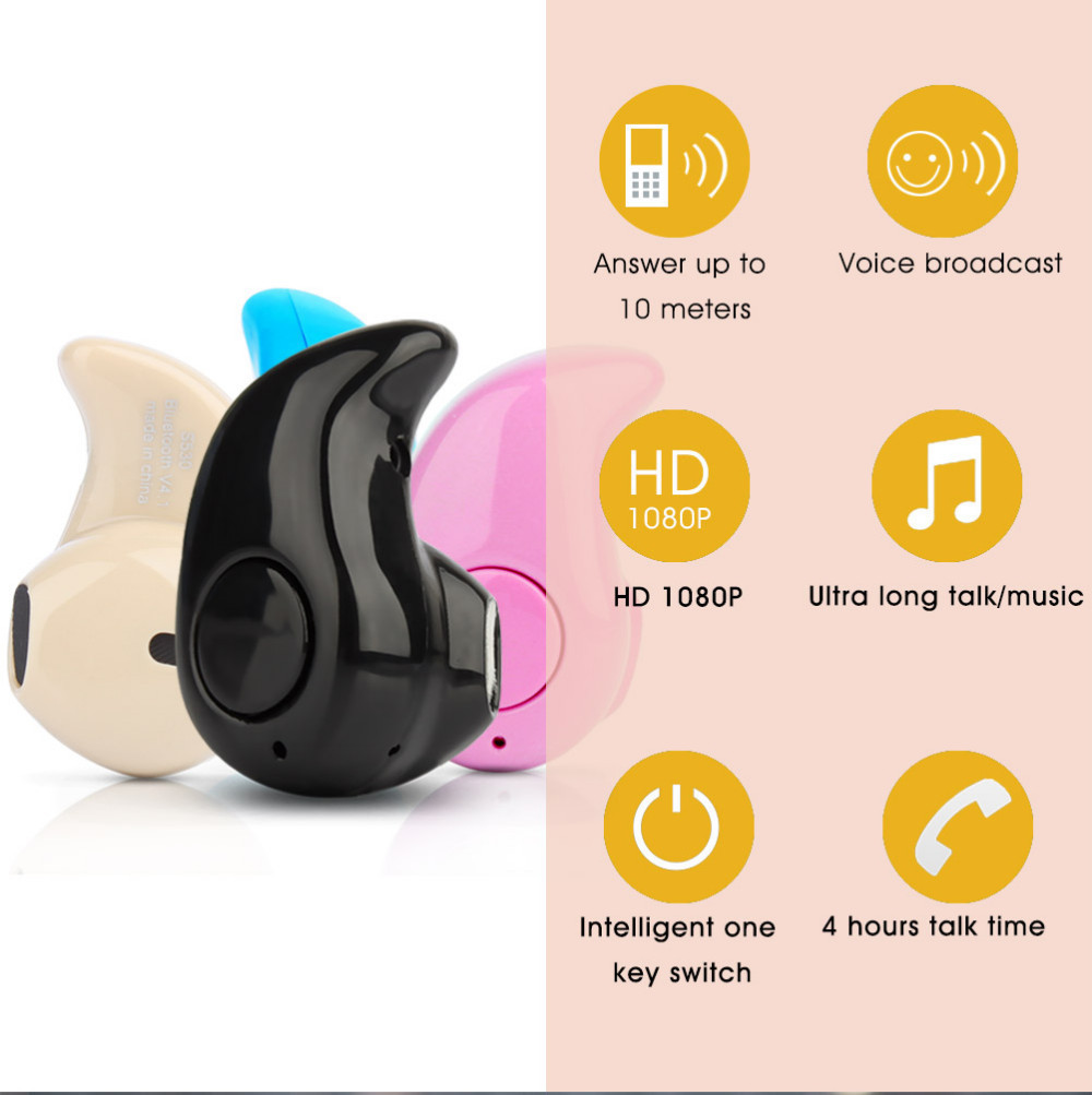 Bluetooth V4.0 Earphone Wireles Stereo Bluetooth Headphone With Mic Handfree For iPhone/Samsung Mini Earbud Wireless Mono