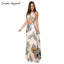 BeAvant 2016 summer boho style women dresses Sleeveless halter top two pieces set maxi dress Floral print girls dress