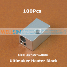 100Pcs Aluminium Heater Block For Ultimaker Extruder Print Head Hot End Heating Block 25*16*12 25x16x12 mm For 3D Printer
