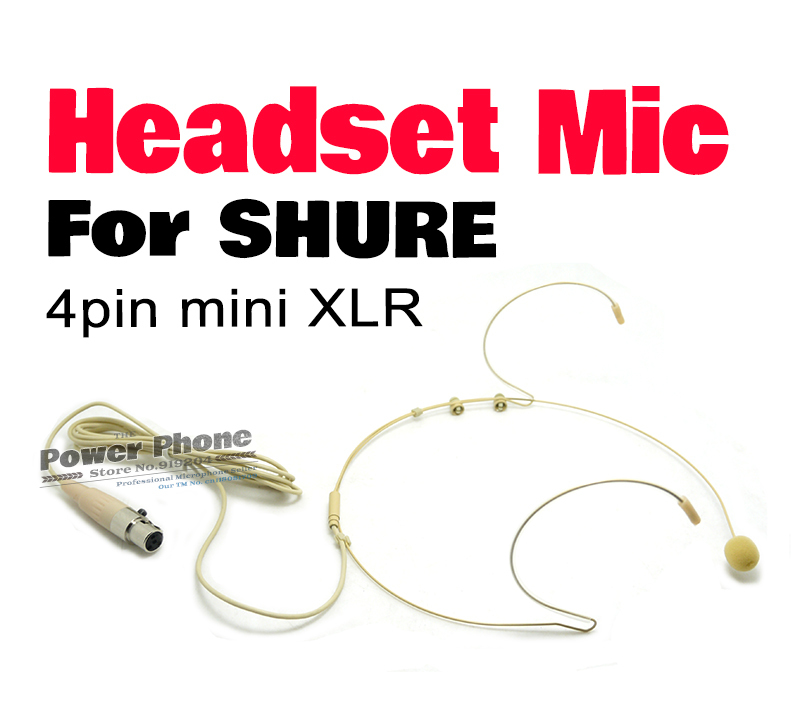 Free Shipping! Headworn Headset Condenser Microphone Mic For Shure Wireless BodyPack Transmitter with 4 Pin mini XLR 4Pin Plug(China (Mainland))