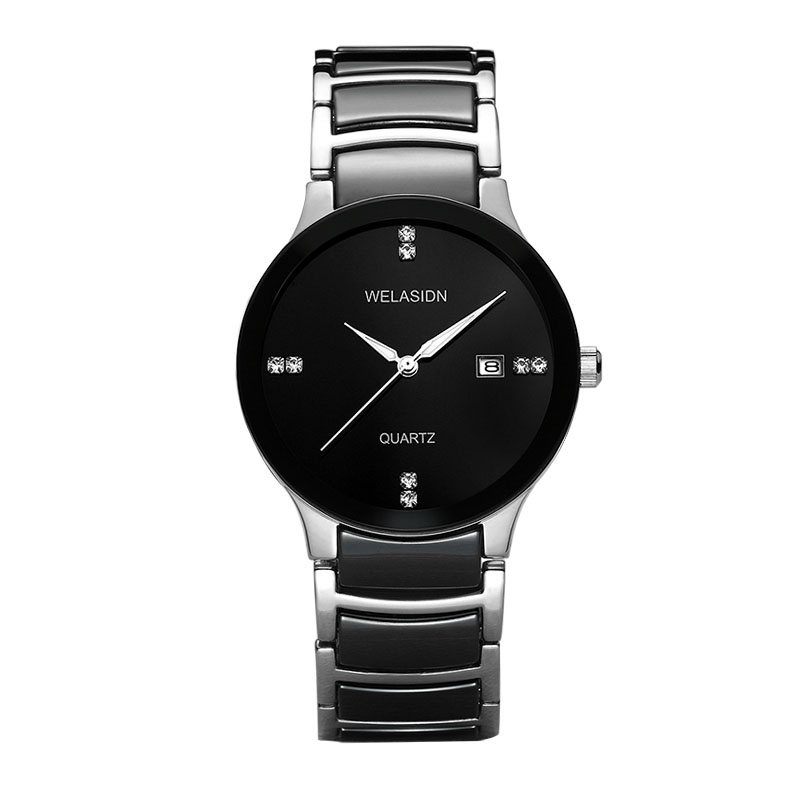 Free shipping - wholesale - WELASIDN men quartz watch black pottery four-point scale male expression couple table silver shell(China (Mainland))