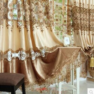 European Style Luxury Villa Living Room Curtains Openwork Embroidery Curtain