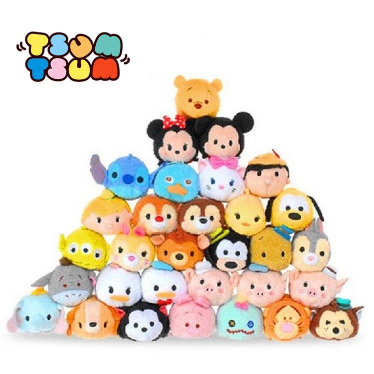 Tsum Tsum Mini 9cm Plush doll Toys Screen Cleaner inside out Mickey Minnie animal bear juguetes key chain accessory kids gift(China (Mainland))
