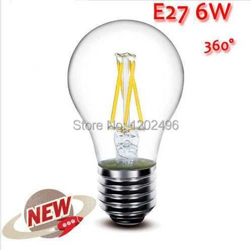 NA 1PCS E27 3W 6W 9W 12W LED Chips LED Bulb Light Lamps Glass Globe Lamp Edison Filament bulb Warm/White 110V-240V High Power(China (Mainland))